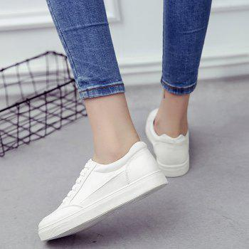 Eyelet Stitching Canvas Shoes - WHITE 38