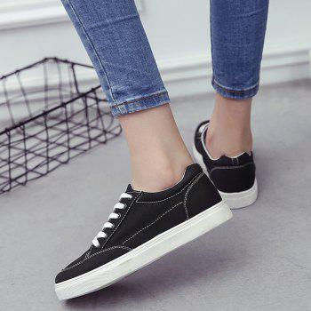 Eyelet Stitching Canvas Shoes - BLACK 38