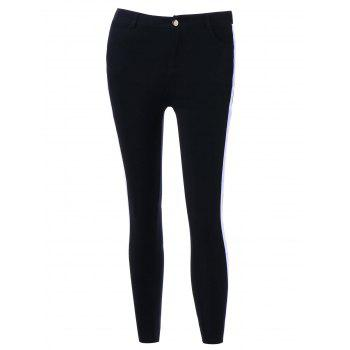 Two Tone Four Pockets Pencil Pants - BLACK M