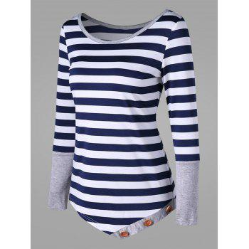 Striped Button Embellished Asymmetric Top