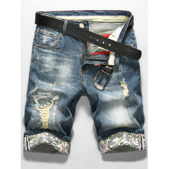 Zip Fly LS Print Distressed Denim Shorts