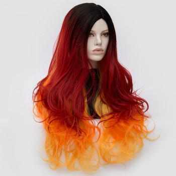 Long Middle Part Fluffy Colormix Layered Wavy Cosplay Wig -  ORANGE