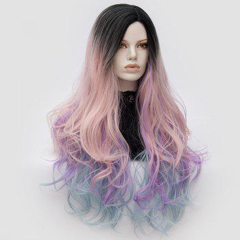 Long Middle Part Shaggy Colormix Layered Wavy Anime Cosplay Wig -  PINK/PURPLE