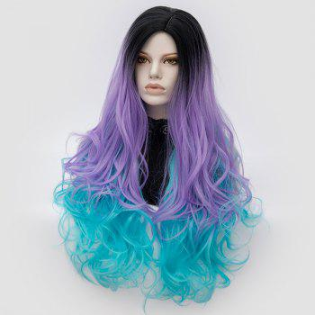 Long Middle Part Shaggy Colormix Layered Wavy Anime Cosplay Wig - Noir et Violet