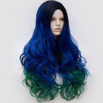 Long Middle Part Fluffy Colormix Layered Wavy Cosplay Wig -  ROYAL