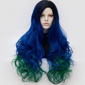 Long Middle Part Fluffy Colormix Layered Wavy Cosplay Wig - ROYAL ROYAL