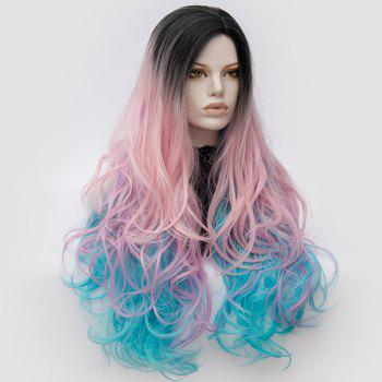 Long Middle Part Fluffy Colormix Layered Wavy Cosplay Wig -  PURPLE