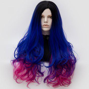 Long Middle Part Fluffy Colormix Layered Wavy Cosplay Wig - SAPPHIRE BLUE + BLACK SAPPHIRE BLUE / BLACK