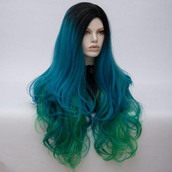 Long Middle Part Fluffy Colormix Layered Wavy Cosplay Wig -  BLACK/GREEN