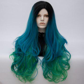 Long Middle Part Fluffy Colormix Layered Wavy Cosplay Wig - BLACK AND GREEN BLACK/GREEN