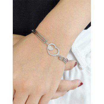 Hollow Double Heart Alloy Bracelet -  SILVER
