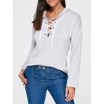 Drop Shoulder Lace Up Hoodie - LIGHT GRAY L