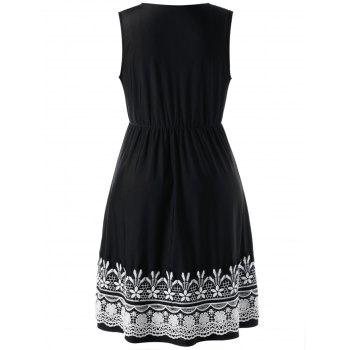 Crochet High Waist Plus Size Wrap Dress - Noir XL