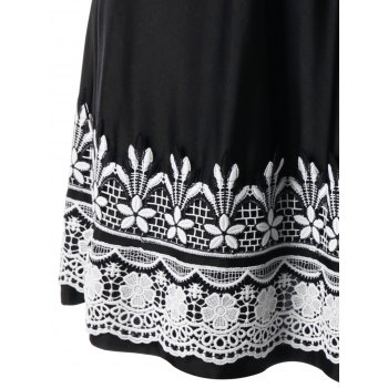 Crochet High Waist Plus Size Wrap Dress - Noir 5XL