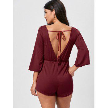 Tassel Open Back V Neck Romper - S S