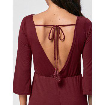 Tassel Open Back V Neck Romper - Rouge vineux XL