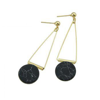 Artificial Rammel Triangle Disc Drop Earrings - Noir