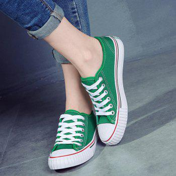 Round Toe Canvas Sneakers - GREEN 37
