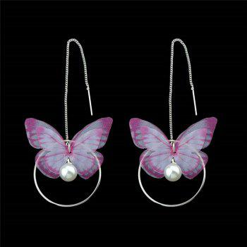 Artificial Pearl Circle Butterfly Chain Earrings