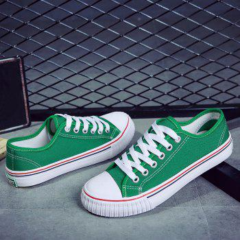 Round Toe Canvas Sneakers - GREEN 39