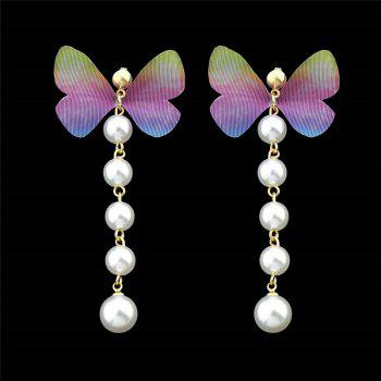 Faux Pearl Butterfly Earrings