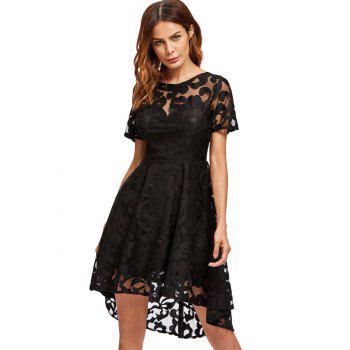 Lace Mesh Open Back Cocktail Party Dress - M M