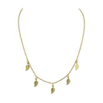 Charm Alloy Leaf Chain Necklace - GOLDEN GOLDEN