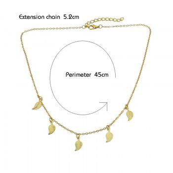 Charm Alloy Leaf Chain Necklace -  GOLDEN