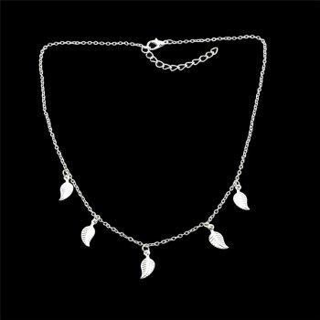 Charm Alloy Leaf Chain Necklace -  SILVER