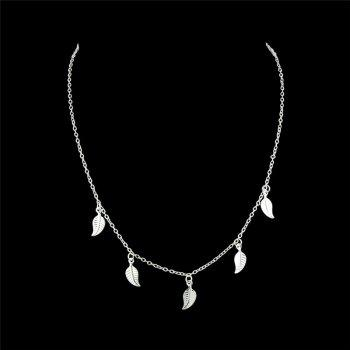 Charm Alloy Leaf Chain Necklace - SILVER SILVER