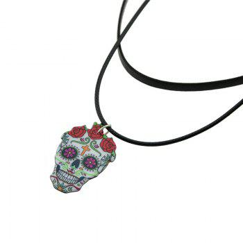 Artificial Leather Crucifix Skull Flower Choker Necklace -  BLACK