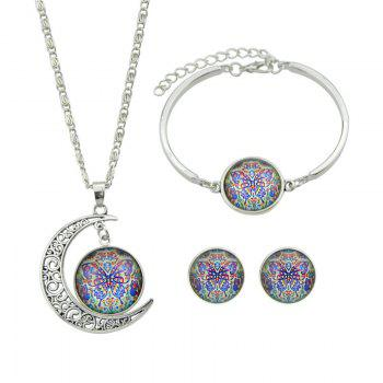 Butterfly Pattern Moon Necklace Bracelet and Earrings