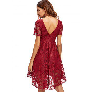 Lace Mesh Open Back Cocktail Party Dress - RED M