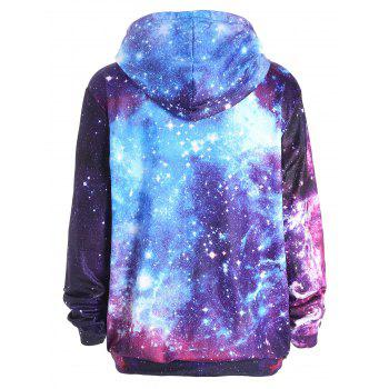 Starry Sky Print Zippered Pocket Hoodie - COLORMIX L