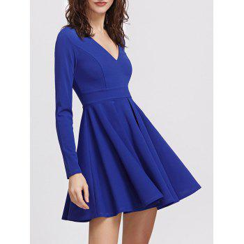 V Neck Long Sleeve Mini Skater Dress - BLUE BLUE