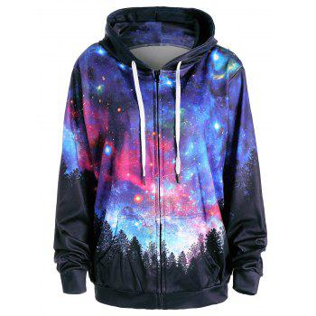 Starry Sky Forest Print Hoodie with Pocket - COLORMIX L
