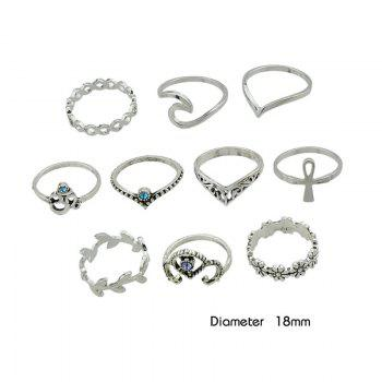 10 Pieces Hollow Out Plant Carve Rings -  SILVER