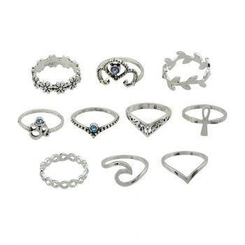 10 Pieces Hollow Out Plant Carve Rings - SILVER SILVER
