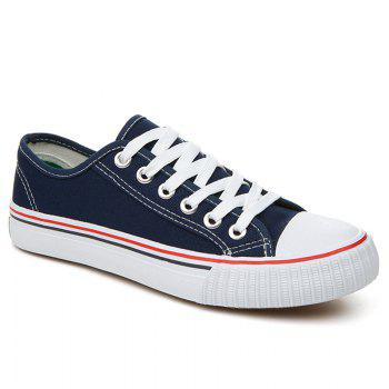 Round Toe Canvas Sneakers - BLUE 40