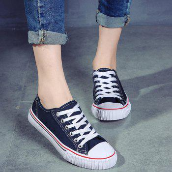 Round Toe Canvas Sneakers - 40 40