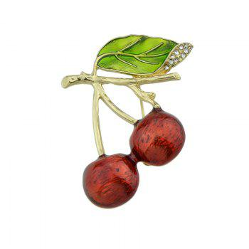 Rhinestone Fruit Litchi Leaf Brooch - RED