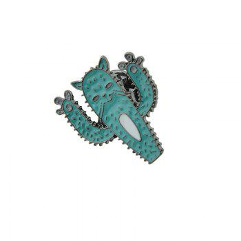 Tiny Funny Cat Cactus Brooch -  BLUE