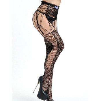 Strappy Lace Fishnet Tights - BLACK ONE SIZE