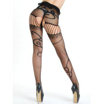 Ruffled Crotchless Garter Belt Fishnet Tights - BLACK BLACK