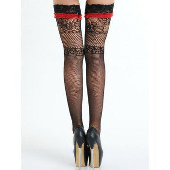 Lace Fishnet Stocking with Bowknot - BLACK ONE SIZE