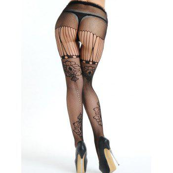 Ripped Mesh Fishnet Tights - BLACK BLACK