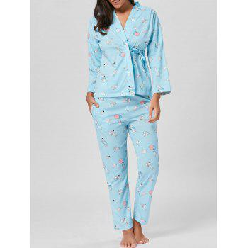 Wrap Printed Cotton Pajamas Set - LIGHT BLUE M