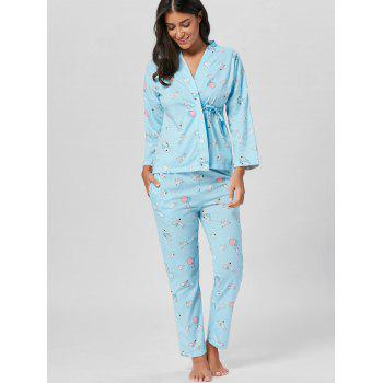 Wrap Printed Cotton Pajamas Set - M M