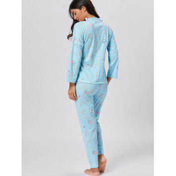 Wrap Printed Cotton Pajamas Set - LIGHT BLUE 2XL