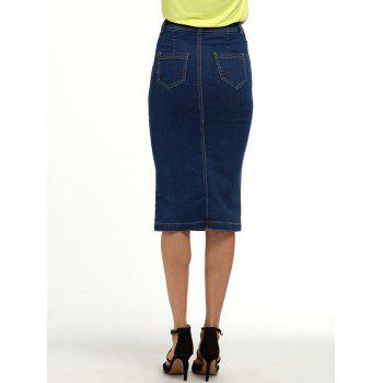 Buttoned Knee Length Denim Pencil Skirt - DEEP BLUE XL